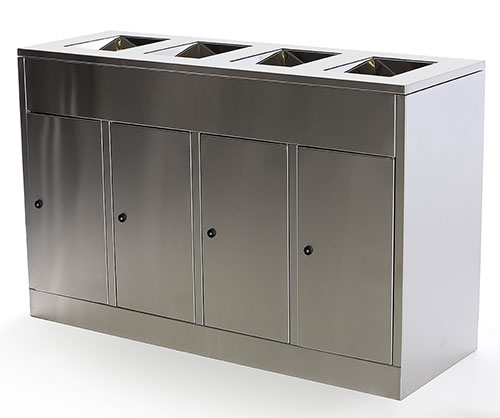 Stainless steel recycling trash units