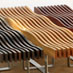 Timber slat wave benches