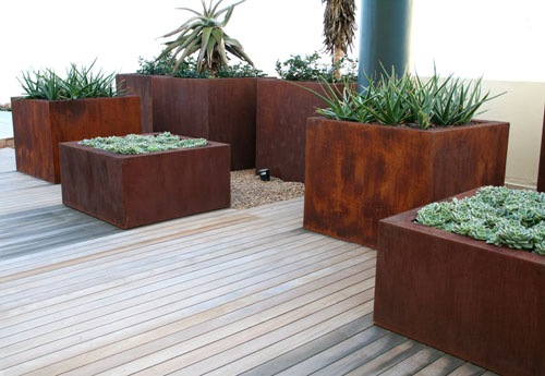 Custom planters made for Bright Blue Landscaping