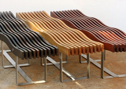 Timber wave benches